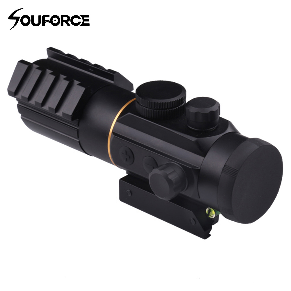 Taktik 3X42 Red Dot Sight 11mm/20mm Raylı Mounts ile Kapsam Ruh Bubble Level Fit Picatinny Tüfek Avcılık için
