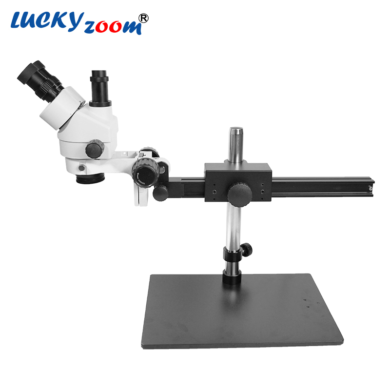 Luckyzoom Brand Professional 7X~45X Trinocular Guide Stereo Zoom Microscope 25cm Working Distance PCB Inspection Microscope