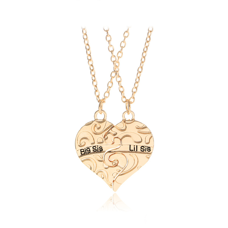 Big Sis Lit Sis Big Sister Little Sister Pendants Necklaces 2 Sisters Carved Broken Heart Necklace Best Friend Forever Gifts
