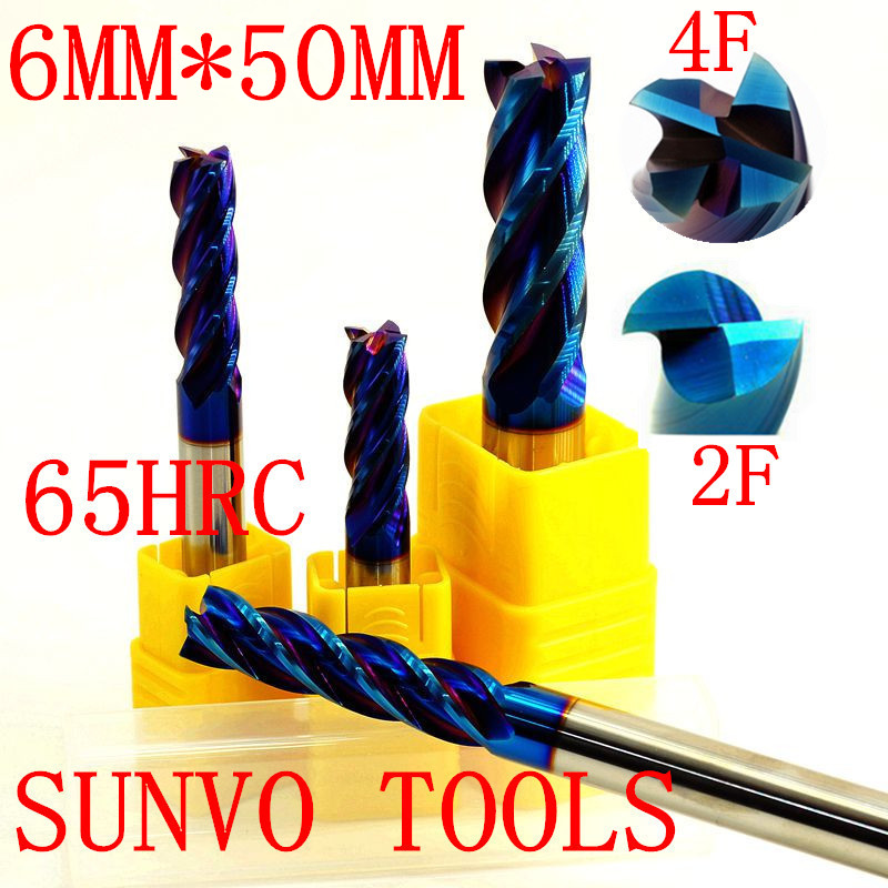 5 ADET 4F 2 flüt HRC45 HRC50 HRC55 HRC60 HRC65 D6x50MM Tungsten karbür End Mill R3 ball end End Mill Alüminyum freze