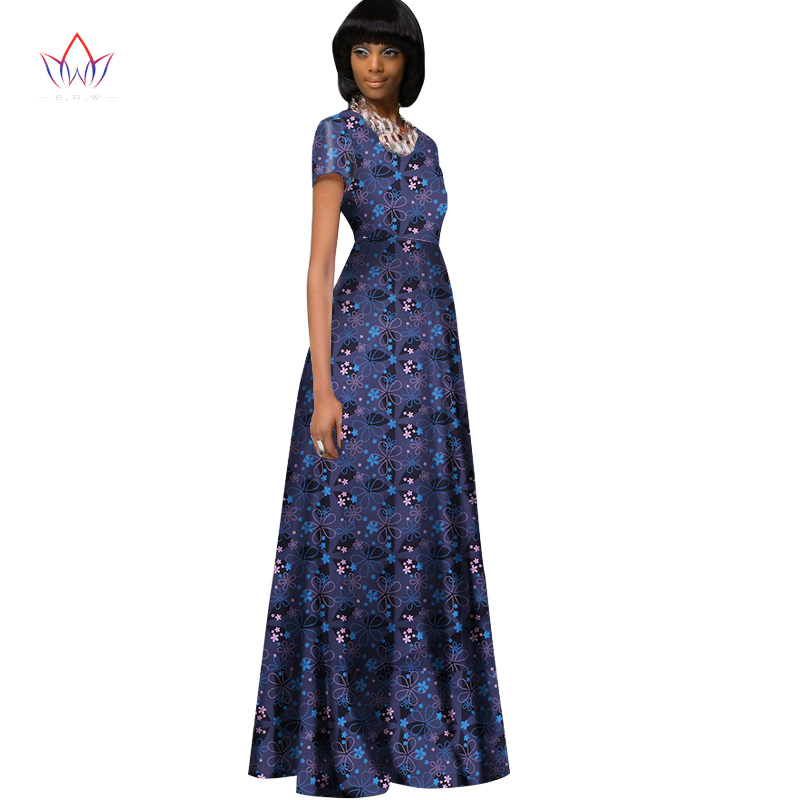 2017 African Dress for Women summer Vintage Maxi long-party-dress Dashiki embroidery african riche bazin Femme Plus Size WY1122