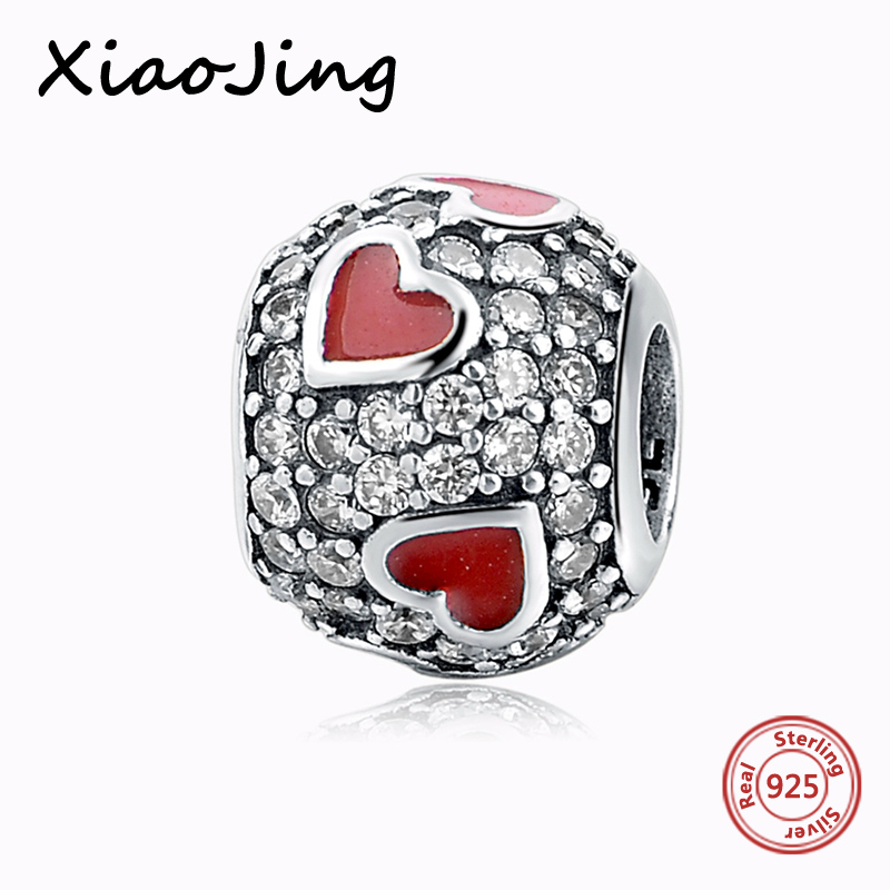 Authentic 925 Sterling Silver Heart charms 925 Sterling Silver beads fit pandora bracelets Charms Beads jewelry making gifts