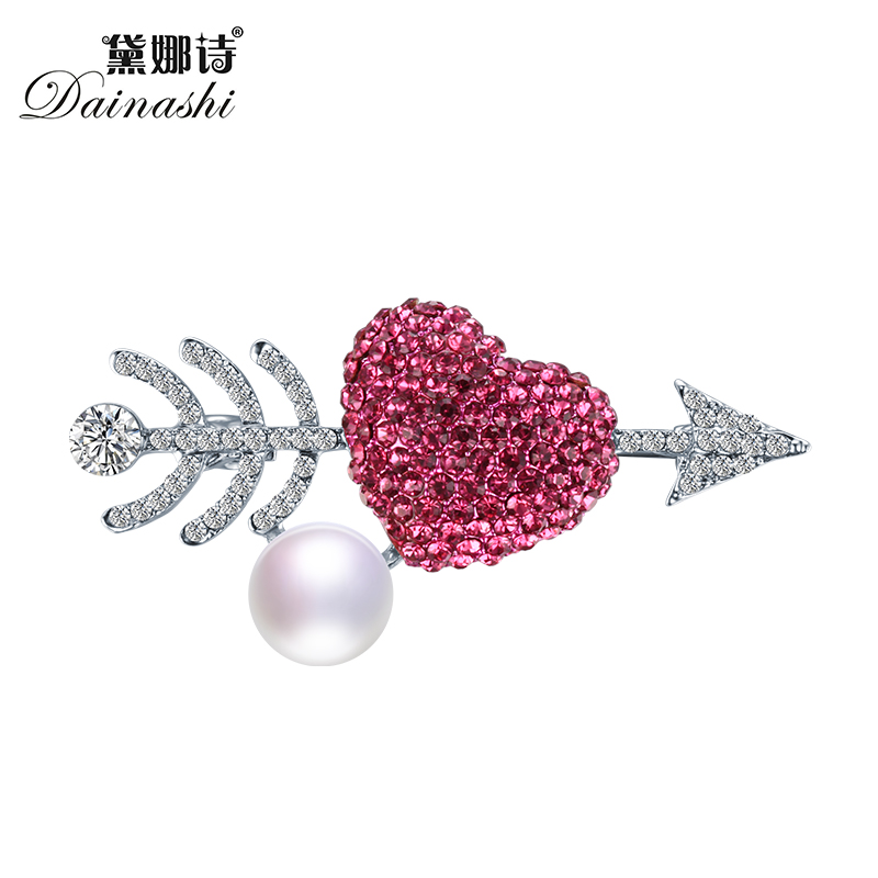 Christmas Gift Romantic Arrow Genuine Pearl Brooch Pins,Red Zircon Brooches for Women Love Wish Brooch Fine Jewelry Gift