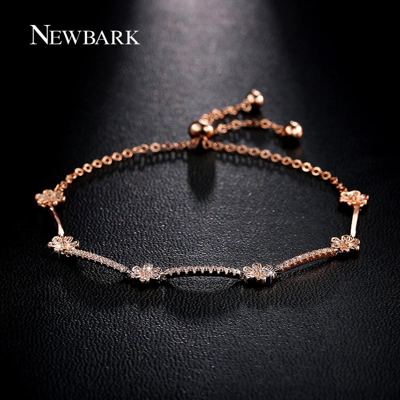 NEWBARK Rose Gold Color with Charm Romantic Rhinestone Flower Chain Bracelets Paved Tiny Cubic Zirconia Beautiful Flower Jewelry