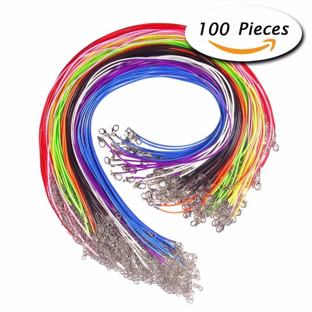 100 Pcs 18 Inches Waxed Cotton Necklace Cord with Lobster Claw Clasp for DIY Jewelry Making, Mix Color