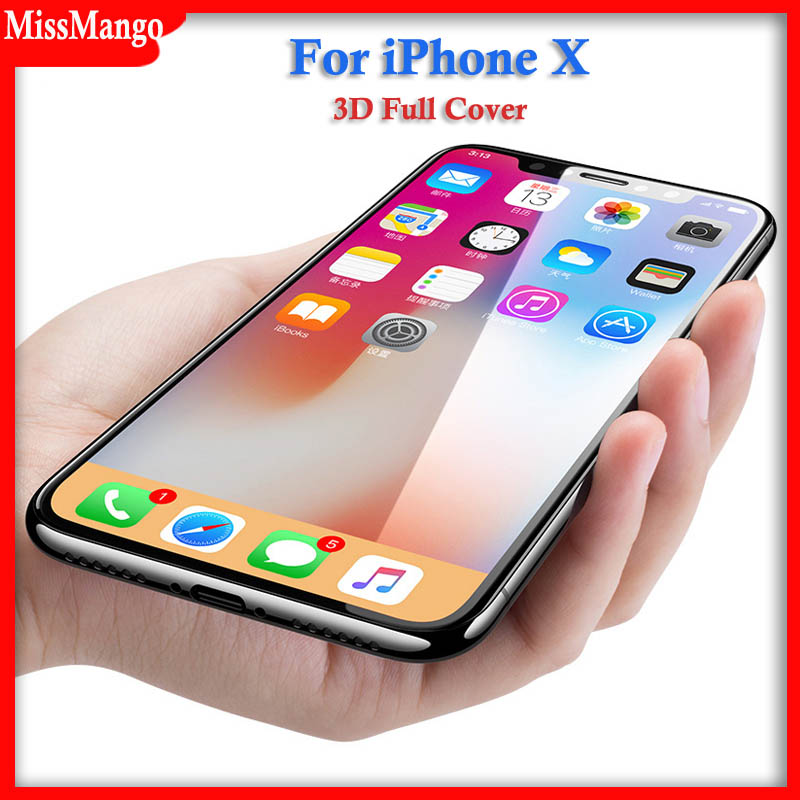 IPhone için X 3D Tam Kavisli Yumuşak Kenar Temperli Cam Apple iPhoneX X Telefonu 9 H Ekran Koruyucu Film Case iPhone X cam