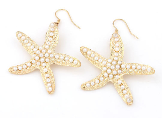 Collectibles Korean fashion gorgeous wholesale pearl temperament Specia promotion thick alloy material starfish dangle earrings