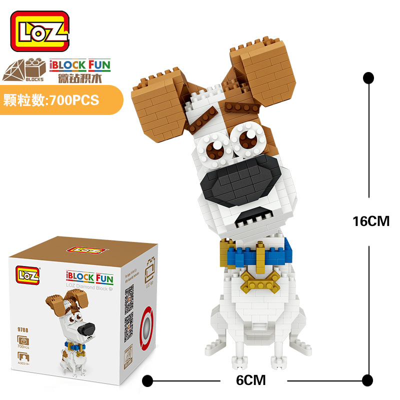 LOZ Diamant Blocs Jack Russell Terrier Chien de Bande Dessinee Anime BRICOLAGE Blocs de inşaat Mignon Mini Şekil Animale