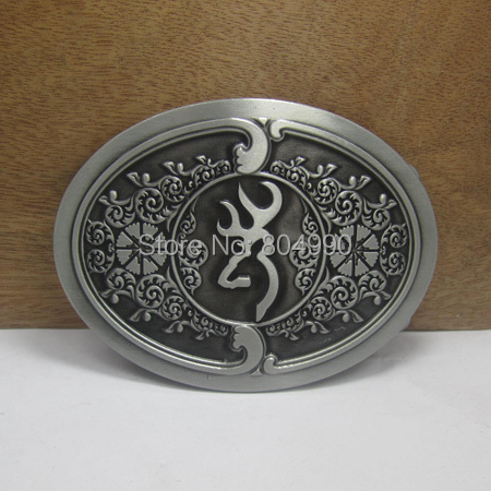 Deer belt buckle with pewter finish FP-02614-1 suitable for 4cm wideth belt with continous stock