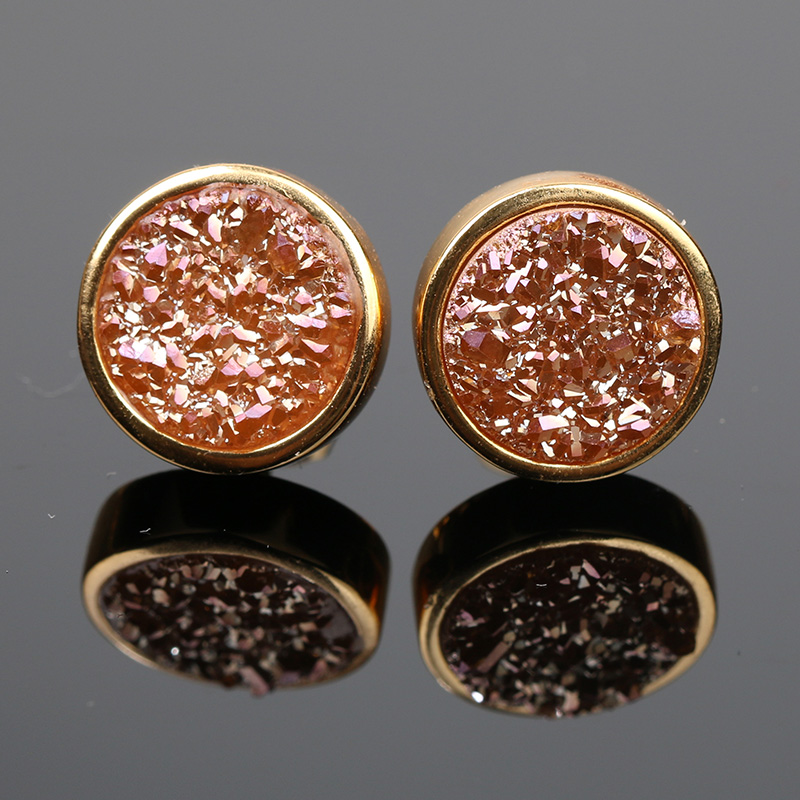 BOROSA Gold Color Fashion Jewelry Plating Color Round Natural Agates Tiny Druzy Stone Stud Earrings