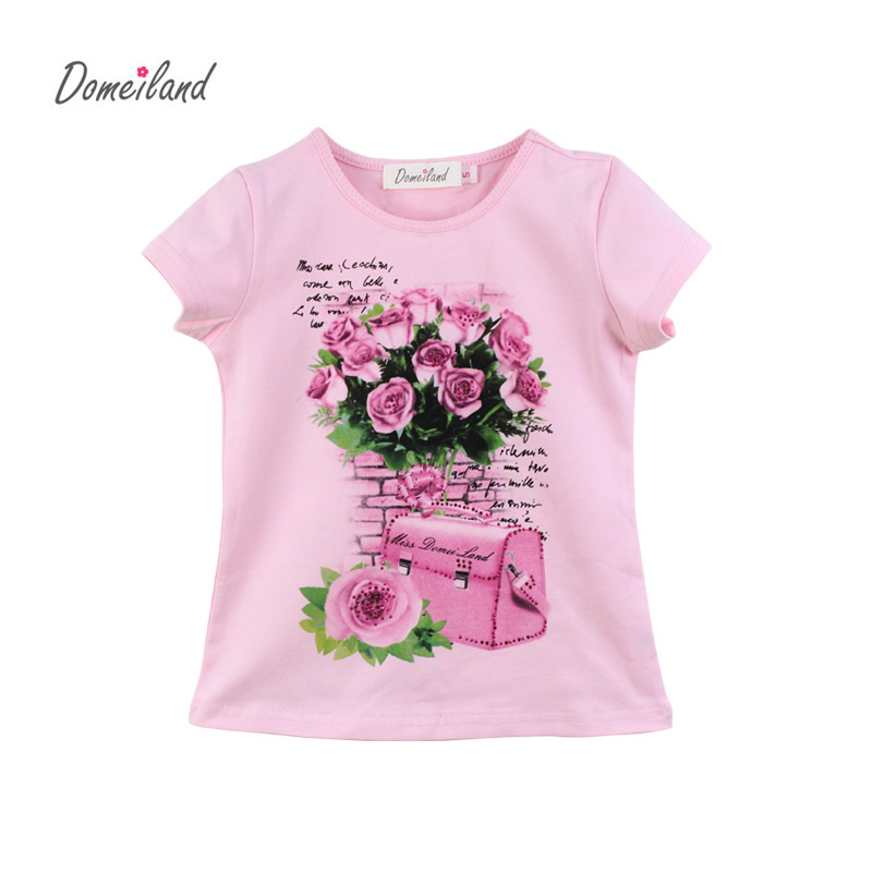 2017 fashion domeiland summer children clothing for kids girl short sleeve print floral cotton tee shirts tops clothes