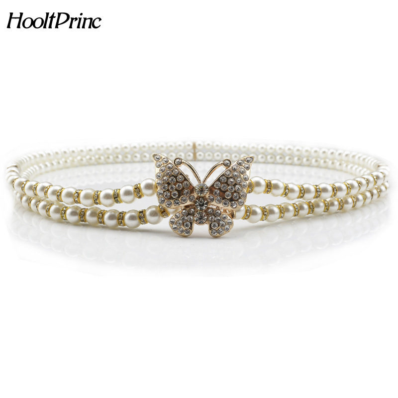 HooltPrinc Women&39;s Lady Fashion Metal Chain Pearl Style Belt Body Chain 2017 Design Buckle Belt Waistband Apparel Accessories