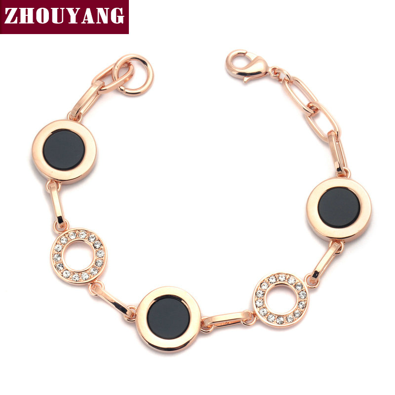Top Quality Round Oil Drop Rose Gold Color Bracelet Genuine Austrian Crystals Wholesale ZYH219 ZYH220