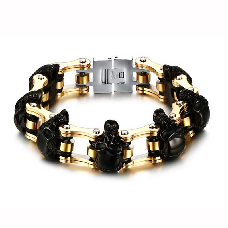 Quality Men Punk Stainless Steel Skull Beaded Bracelet Gun Black Gold-Color Heavy Chain Bracelet