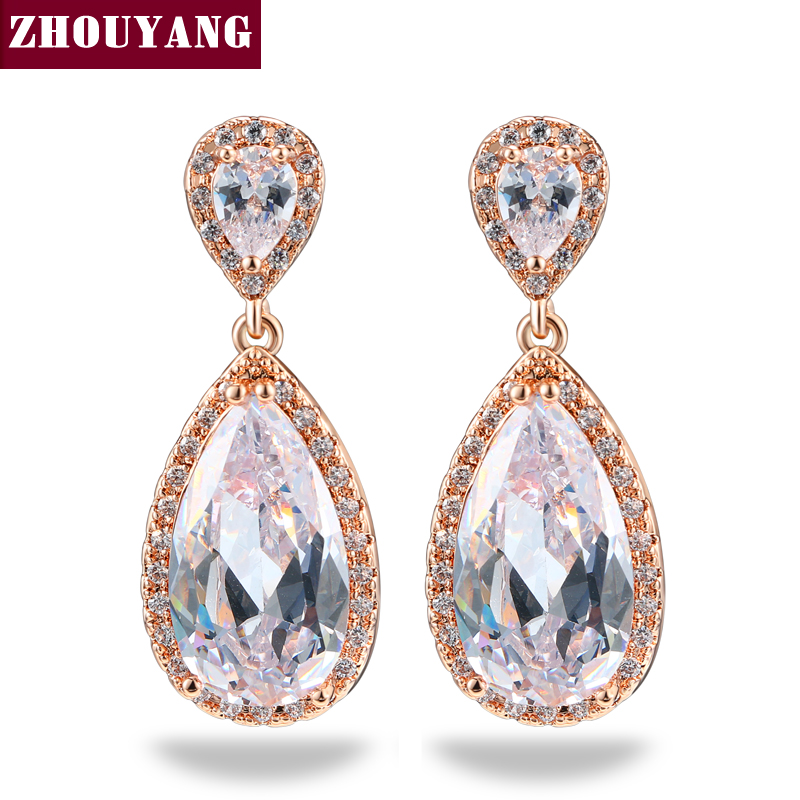 Classic Design Water Drop Silver Color Cubic Zirconia Stud Earrings Wedding Jewelry For Elegant Women Top Quality ZYE842 ZYE844