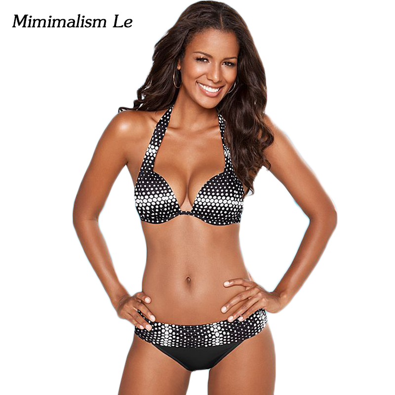 Minimalism Le Sexy Halter Top Bikini 2017 New Swimwear Women Swimsuit Push Up Beach Wear Brazilian Vintage Bathing Suits BK716