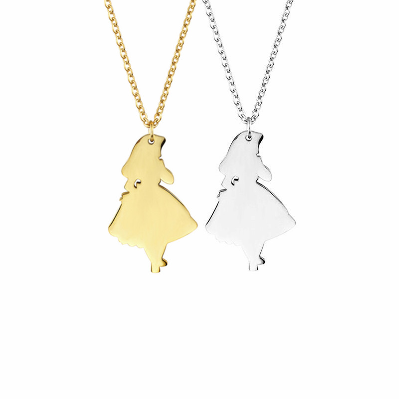 Gold Cute Vintage Wonderland Pendant Necklace for Girls Lady Women Lovers Stainless steel Chain Children Gift 2017 Movie Jewelry
