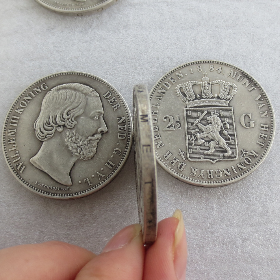1854. Hollanda, William III, 2 1/2 Gulden Gümüş Kopya Paralar