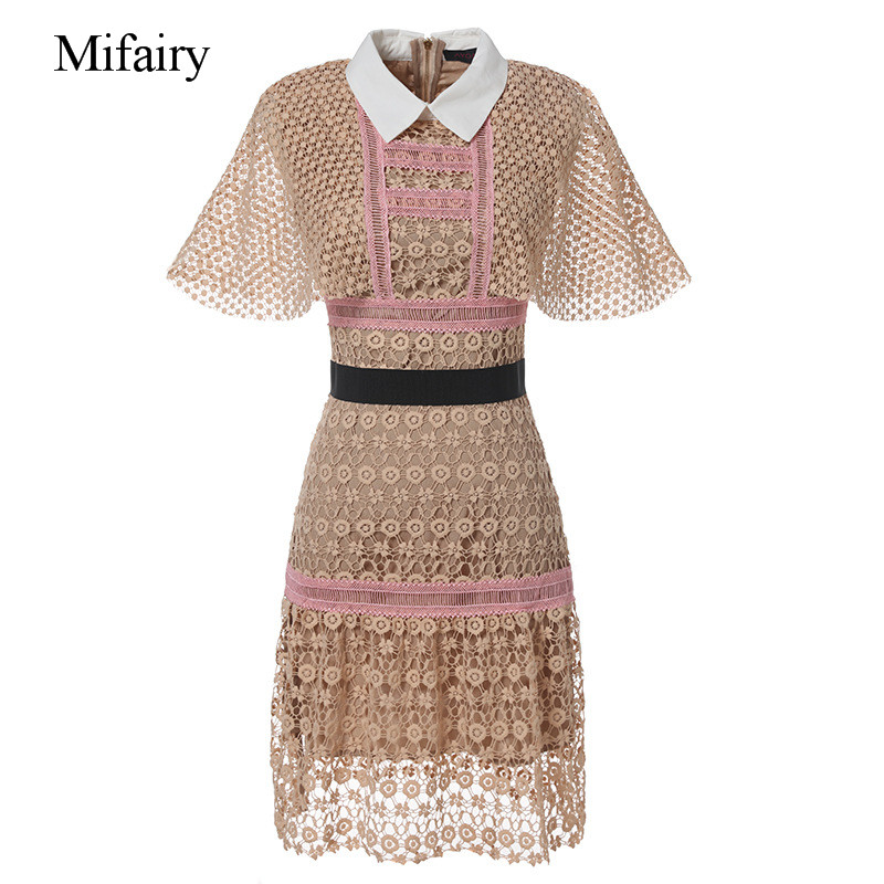 Mifairy 2017 pembe turn down yaka cloak kollu bodycon kadınlar dress high end hollow out dantel mini seksi dress c061729
