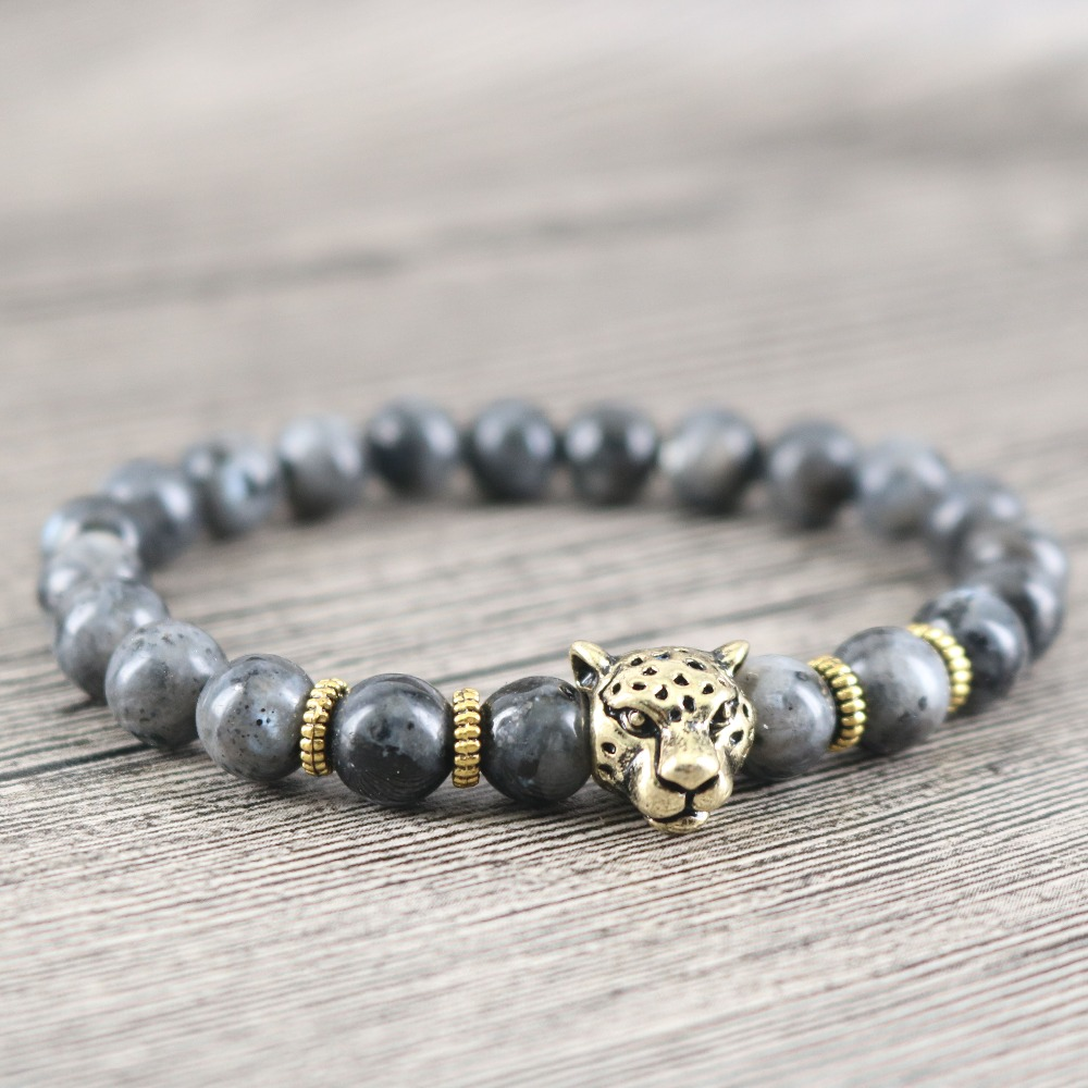 Trendy Mens Womens Stretch Rope Labradorite Stone Friendship Bracelet Lucky Grey Moonstone Handmade Charm Surfer Jewelry