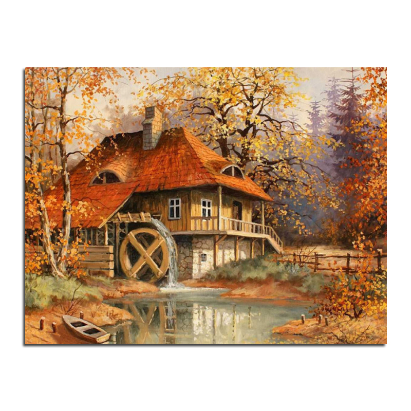 Diamond embroidery Autumn scenery cabin 60x46 Diy diamond square drill rhinestone pasted Crafts Needlework home decoration