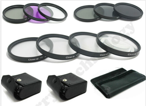 52mm makro close up set + uv cpl fld/nd 2 4 8 filtre kiti nikon 18-55mm lens