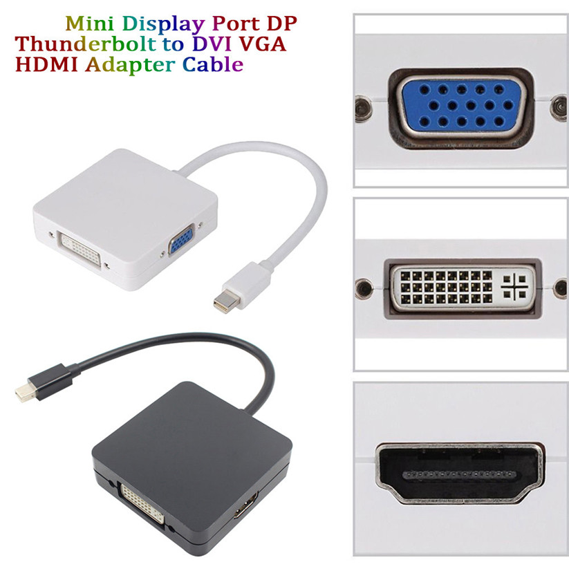 Mosunx Adaptörü 3 1 Mini Display Port DP MacBook Için dvi VGA HDMI Adaptör Kablosu Thunderbolt td1222 dropship