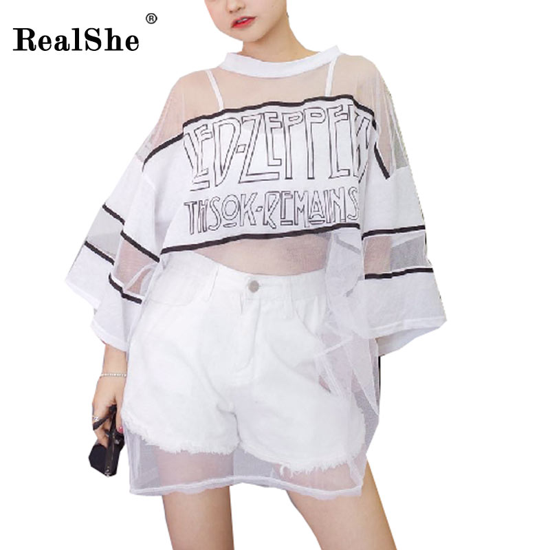 RealShe 2017 Long Style T shirt Women Fashion Causal Loose Mesh Woment Tops Summer 2017 Ladies Girls T-shirt Camisas
