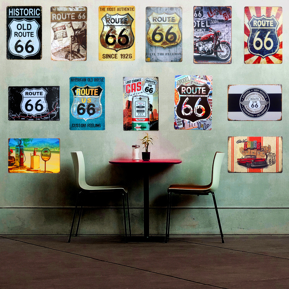 Metal Tabelaları Retro Poster Route 66 Vintage Ev Bar dekor Sticker Dekoratif Metal Duvar Craft Plak 20*30 cm Mix Sipariş A123