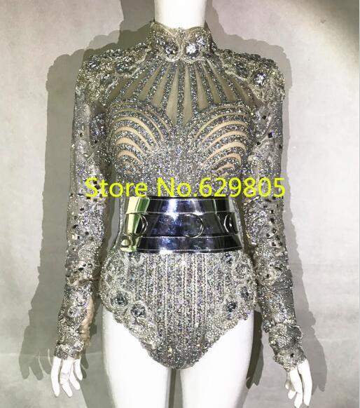 Luxury Glisten Silver Crystals Bodysuit Flashing Prom Outfit Shining Sexy Birthday Party Leotard Costume Women Evening Wear