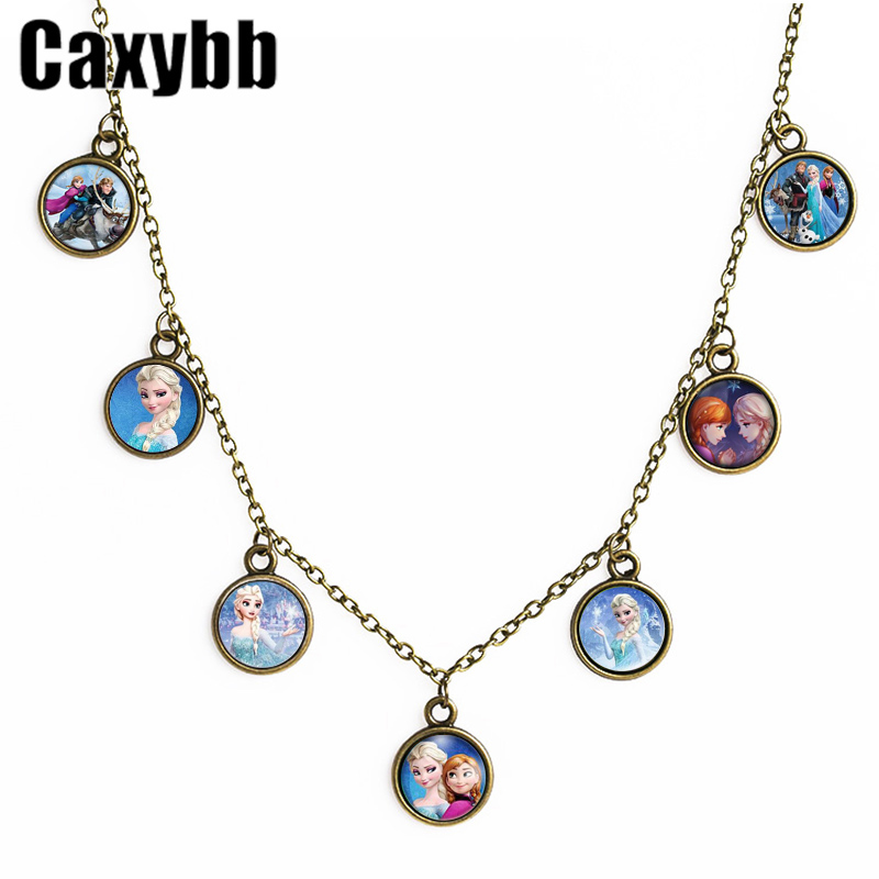 Caxybb Movie jewelry charm Pendant Snow Girl Elsa and Anna Necklace Cabochon Crystal Choker Necklace for Girl Christmas
